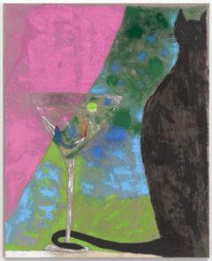 Self-portrait in a Martini Glass with a Black Cat
