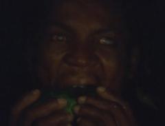 Solar, the blindman eating a papaya